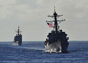 US Navy 120212-N-ED900-348 The Arleigh Burke-class guided-missile destroyer USS Wayne E. Meyer (DDG 108) and the Ticonderoga-class guided-missile c.jpg