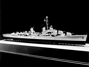 USS Abner Read (DD-769) - Model of the U.S. Navy destroyer USS Gearing (DD-710). Note that the after set of torpedo tubes has already been replaced by a 40 mm quadruple mount in this model.