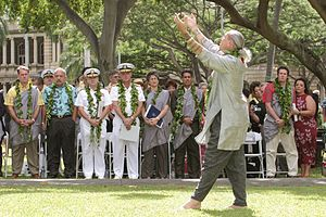 Music of Hawaii - Hula performance at a ceremony turning over U.S. Navy control over the island of Kahoolawe to the state performed by Uncle Frank Kawaikapuokalani Hewett