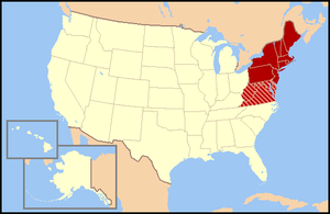 Map of the US northeast. Regional definitions vary