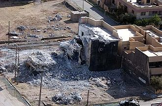 Uday Hussein - House of Uday and Qusay in Mosul, Iraq destroyed by U.S. forces, 31 July 2003