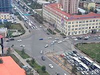 The intersection of Chinggis Khan Avenue and Peace Avenue, a major intersection, in Sukhbaatar District.