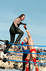 The Undertaker performs Old School (an arm twist ropewalk chop) on Heidenreich.