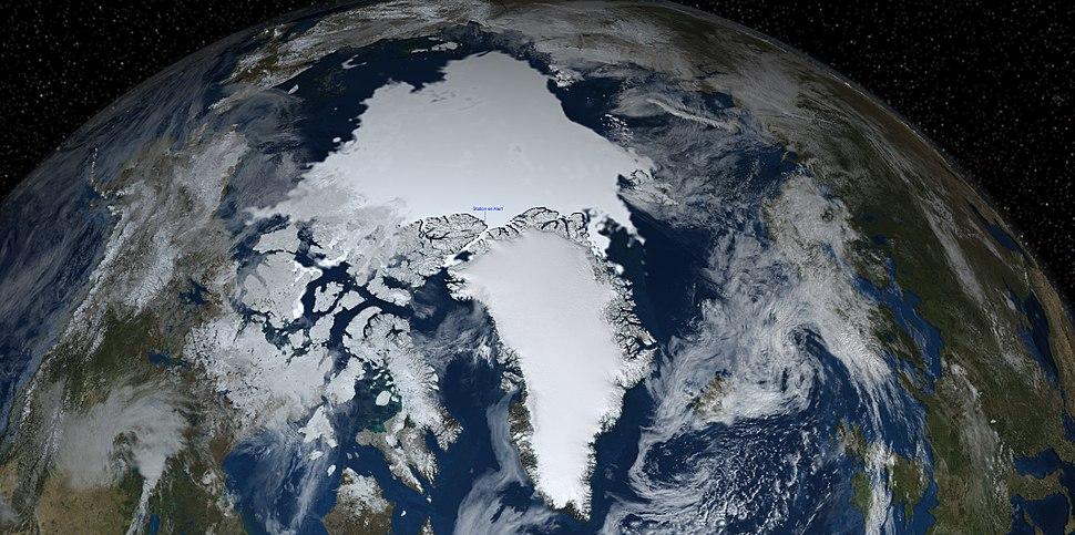 Une partie de l%27h%C3%A9misph%C3%A8re nord de la Terre avec la banquise, nuage, %C3%A9toile et localisation de la station m%C3%A9t%C3%A9o en Alert