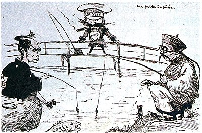 Caricature about the dispute between China, Japan and Russia over Korea, published in the first edition of Tobae , 1887 Une partie de peche.jpg
