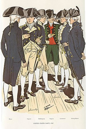 History of the United States Navy - Uniforms of the new navy (from left to right): Purser, Captain, Midshipman, Surgeon (with green coat), Lieutenant, Sailing Master.