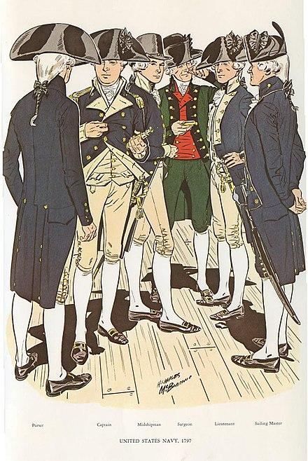 新しい海軍のユニフォーム(左から右へ):パーサー、キャプテン、ミッドシップマン、外科医(グリーンコート付き)、中尉、セーリングマスター。