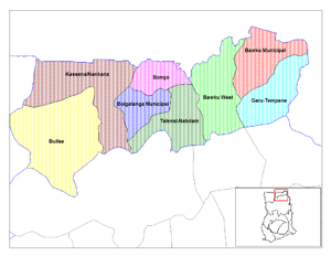 Upper East Region - Image: Upper East Ghana districts