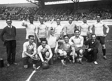 The Uruguay national football team that won the 1928 Olympic tournament Uruguay 1928 olympics.jpg