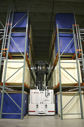 Automated guided vehicle - VNA AGV that can travel through aisles with limited side clearance safely.