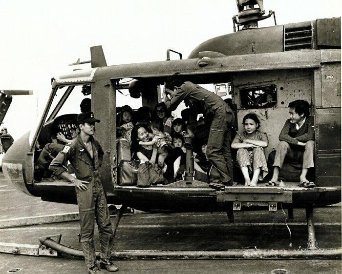 VNAF Huey full with evacuees
