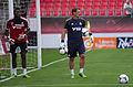 Valais Cup 2013 - OM-FC Porto 13-07-2013 - Brice Samba et Laurent Spinosi à l'échauffement.jpg