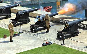 Saluting Battery (Valletta) - One of the guns at the battery firing a salute