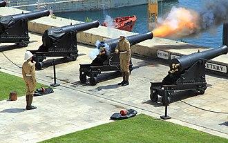 Saluting Battery (Valletta) - One of the guns at the battery firing a salute