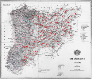 Vas County (former) - Ethnic map of the county with data of the 1910 census (see the key in the description).