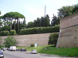 Outline of Vatican City - A section of the wall in Vatican City, from the outside, behind the Vatican Gardens.