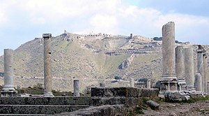 Library of Pergamum - The acropolis of Pergamum, seen from the Via Tecta at the entrance to the Asklepion
