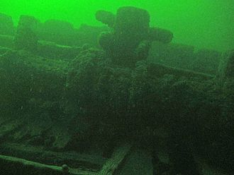 A.E. Vickery - Windlass of the A. E. Vickery, shipwreck located near Clayton, New York, USA, 14 June 2014