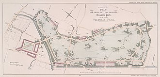 Victoria Park, London - A drawing of the proposed layout published in 1841.