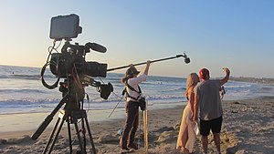 Boom operator (media) - Video production on Carlsbad beach
