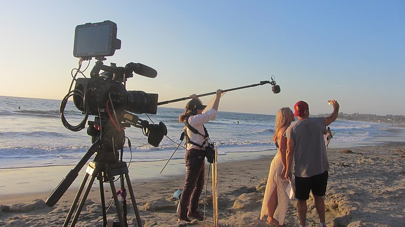 File:Video production on Carlsbad beach.jpg