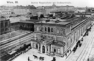 Wien Mitte railway station - Hauptzollamt station and market hall in 1905