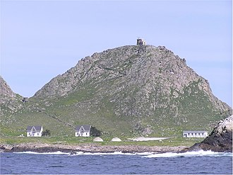 Farallon Islands - View of research station at Marine Terrace, with Farallon Island Light above