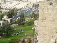 View of road from Jerusalem wall - panoramio.jpg