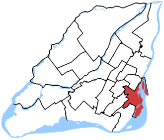 Ville-Marie—Le Sud-Ouest—Île-des-Sœurs - Ville-Marie—Le Sud-Ouest—Île-des-Sœurs in relation to other federal electoral districts in Montreal and Laval (2013 boundaries)