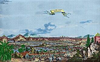 History of Rakhine - Mrauk-U, or Arrakan (city of Arrakan), in the first plan the Portuguese settlement of Daingri-pet. In Wouter Schouten : Oost-Indische Voyagie, t.o. p. 148. 1676