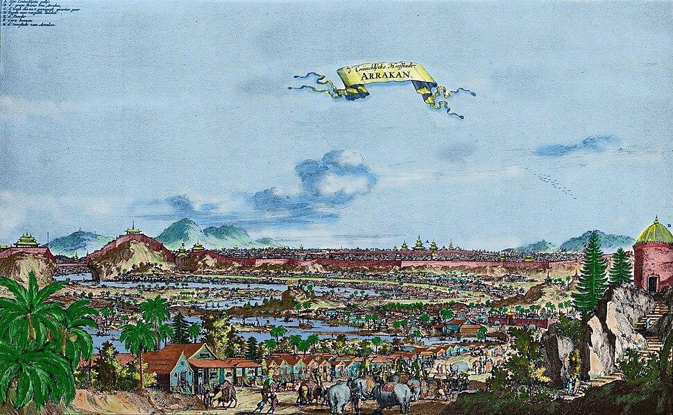 Vista de Mrauk-U, ou Arrakan (cidade de Arrac%C3%A3o) no primeiro plano o bairro portugu%C3%AAs
