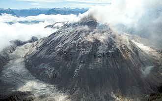 Lava dome - Image of the rhyolitic lava dome of Chaitén Volcano during its 2008–2010 eruption.