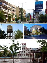 From upper left: Pendelis Avenue, The Water Tower, the Cultural Hall and Analipseos Square