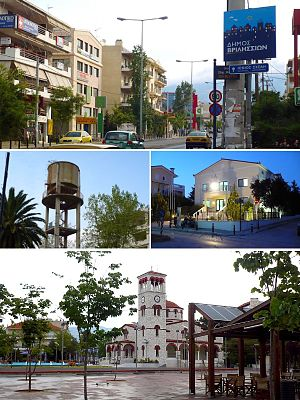 Vrilissia - From upper left: Pendelis Avenue, The Water Tower, the Cultural Hall and Analipseos Square