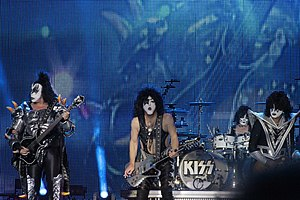 Kiss (band) - Kiss playing at Hellfest 2013, during their Monster World Tour. From left to right: Gene Simmons, Paul Stanley, Eric Singer, and Tommy Thayer