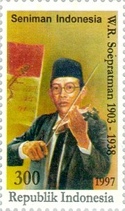 Wage Rudolf Supratman 1997 Indonesia stamp.jpg