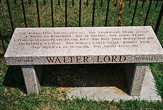 Walter Lord - Memorial bench engraved with Lord's book titles