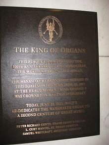 Wanamaker plaque