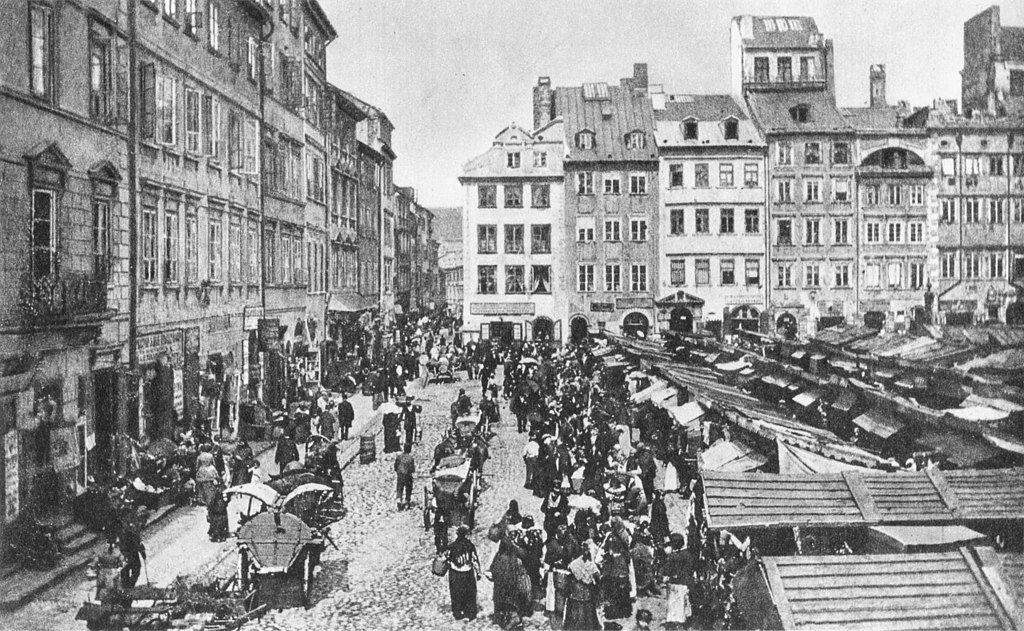 Rynek de la Vieille Ville de Varsovie vers 1880.