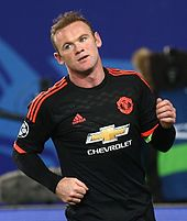 Rooney playing for Manchester United in a UEFA Champions League match  against CSKA Moscow in Russia c4b380978