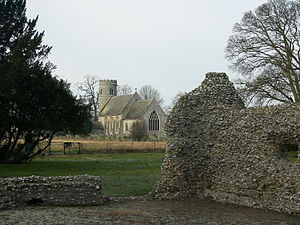 Weeting - Weeting St. Mary, seen from the ruin of Weeting Castle.