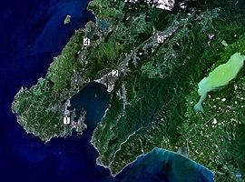 Satellite photo of the Wellington conurbation: (1) Wellington; (2) Lower Hutt; (3) Upper Hutt; (4) Porirua.