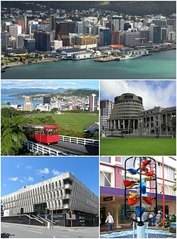 Clockwise from top: Waterfront along Wellington Harbour, Parliament Buildings, The Bucket Fountain, National Library, Wellington Cable Car