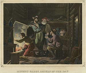 Frederick August Wenderoth - MIners cabin. Result of the day, showing the interior of a miner's cabin during the California Gold Rush, is a 1852 handpainted lithograph by Wenderoth and Nahls.