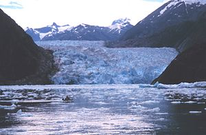 Tracy Arm - Whaler from NOAA Ship John N. Cobb with Sawyer Glacier in the background.
