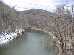 White Deer Hole Creek, looking west from the U.S. Route 15 Bridge, in Allenwood