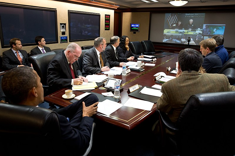 File:White House teleconference for Hurricane Sandy.jpg