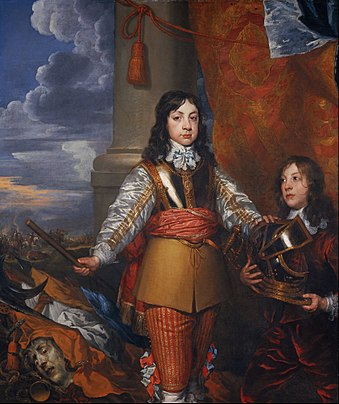 Portrait by William Dobson, c. 1642 or 1643 William Dobson - Charles II, 1630 - 1685. King of Scots 1649 - 1685. King of England and Ireland 1660 - 1685 (When Prince of Wales, with a page) - Google Art Project.jpg