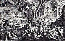 grabado que muestra a mujeres reunidas alrededor de un caldero, del que emergen demonios, diablos, brujas en escobas.