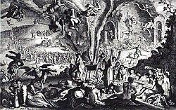 Grabado mostrando dos mujeres reunidas alrededor de un caldero, del cual salen demonios, diablos, y brujas sobre escobas.